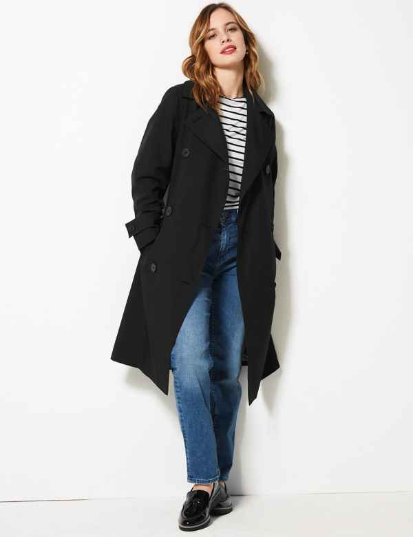 e847b8cdd PETITE Double Breasted Trench Coat