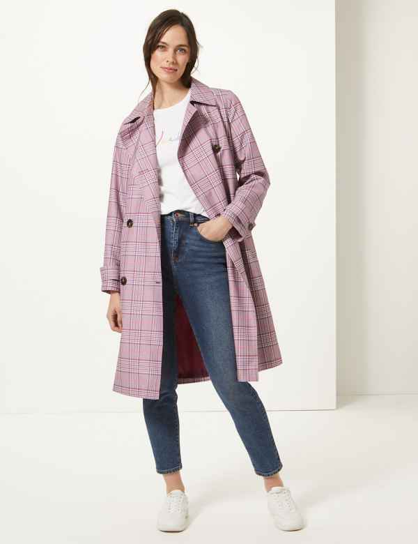 3f154e3fd26c2 Checked Double Breasted Trench Coat