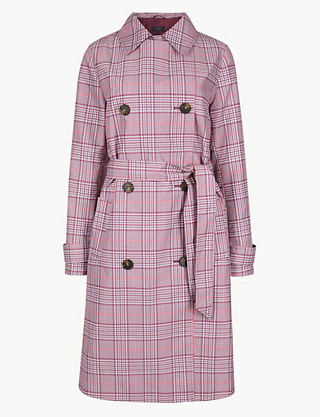 Checked Double Breasted Trench Coat