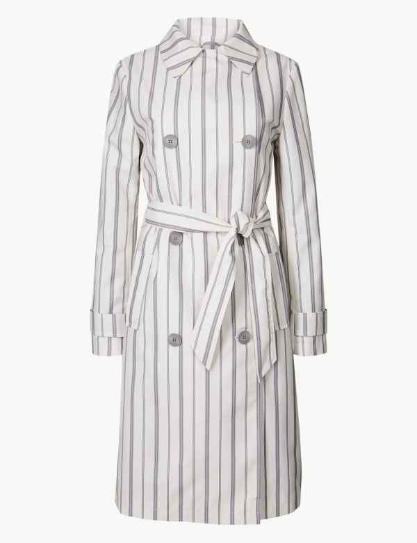 16da360c4d Striped Double Breasted Trench Coat
