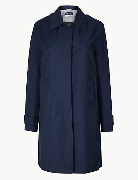 Button Detail Hooded Trench Coat