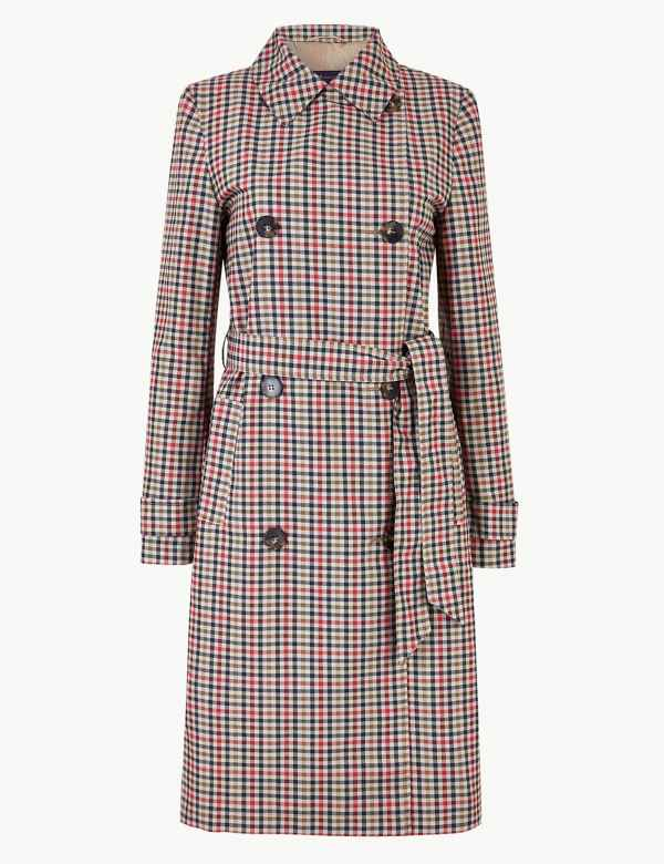 3f32e7d8063e5 Checked Double Breasted Trench Coat