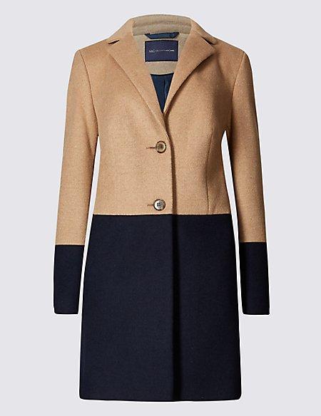 PETITE Colour Block Overcoat