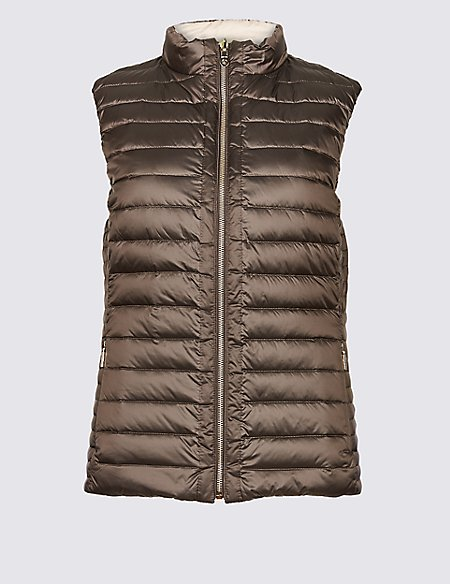 Reversible Quilted Gilet with Down & Feather