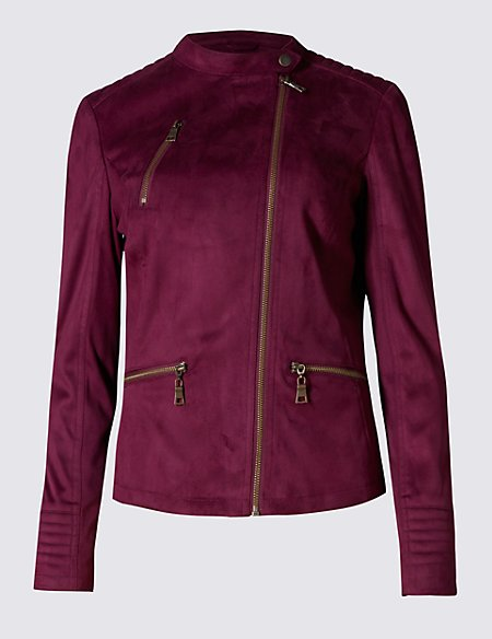 Faux Suede Zipped Pockets Motor Biker Jacket