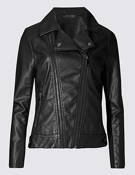 PLUS Faux Leather Biker Jacket