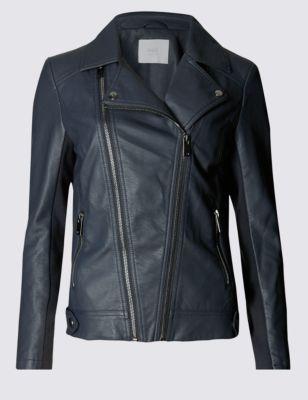 Faux Leather Biker Jacket with Stormwear™