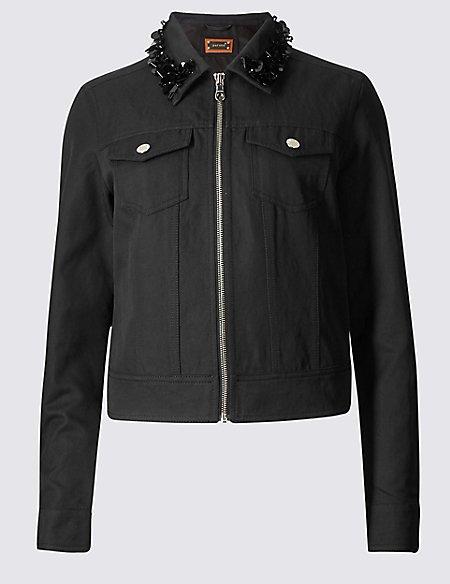 Cotton Blend Jewel Collar Neck Jacket