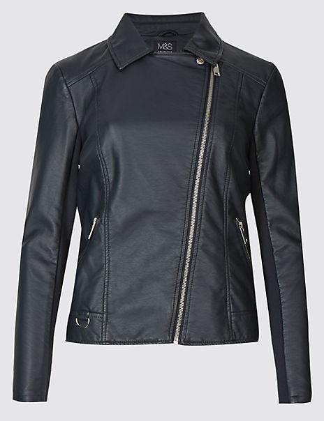 Crossed Zipped Biker Jacket
