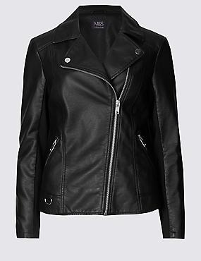 Crossed Zipped Biker Jacket, BLACK, catlanding