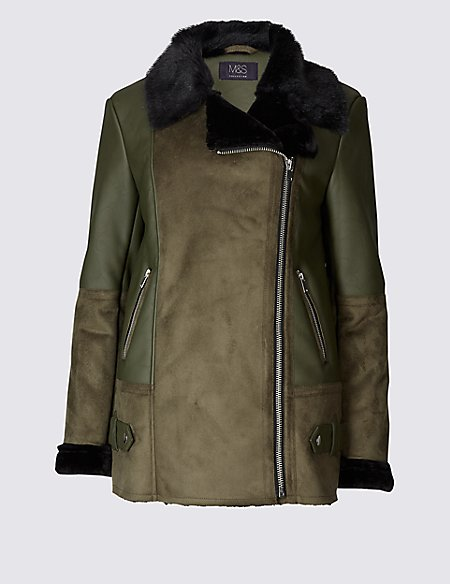 Faux Leather Shearling Jacket