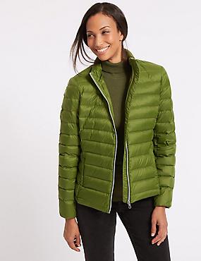 Lightweight Down & Feather Jacket, FERN GREEN, catlanding