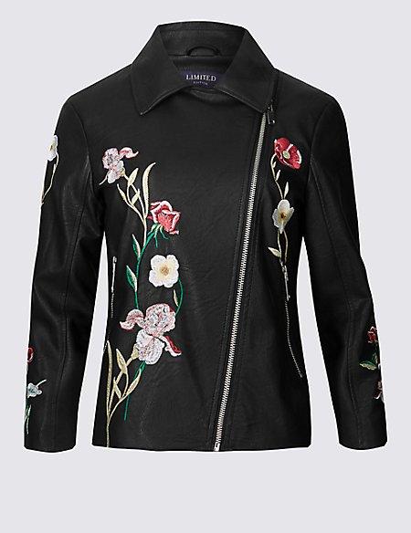 PU Floral Embroidered Biker Jacket