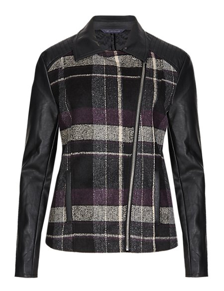 Lightly Padded Checked Biker Jacket with Wool