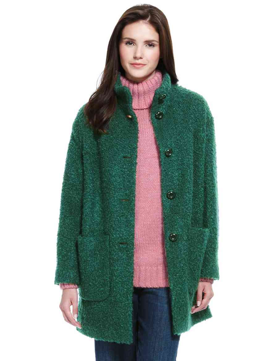 2d329ed8f472 Oversized Bouclé Funnel Neck Cocoon Coat with Wool