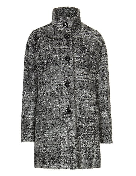 Oversized Bouclé Cocoon Coat with Wool