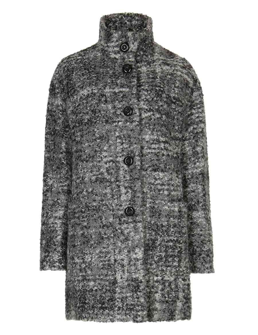 5bb302674546 Oversized Bouclé Cocoon Coat with Wool