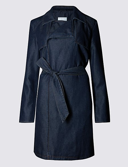 Denim Belted Trench Coat