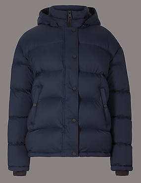 Padded Goose Down & Feather Jacket, DARK NAVY, catlanding