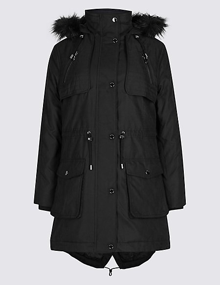 PETITE Faux Fur Parka with Stormwear™