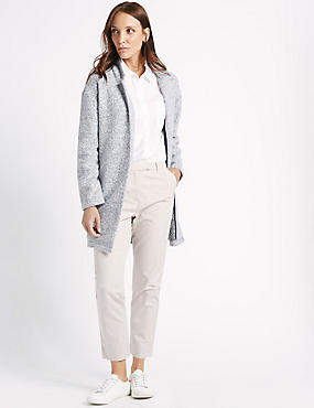 Textured Open Front Coat, GREY, catlanding