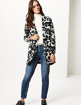 Textured Animal Print Coat, BLACK MIX, catlanding