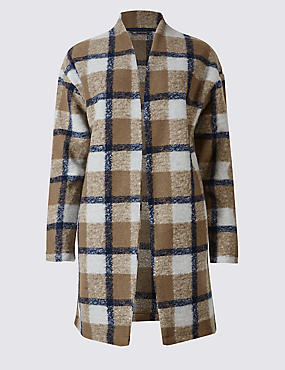 Checked Open Front Coat
