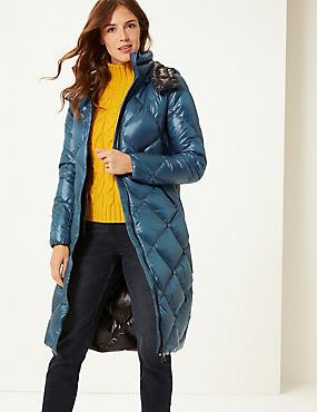Padded Down & Feather Coat with Stormwear™, DARK MARINE, catlanding