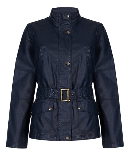 Waxy Belted Jacket with Linen