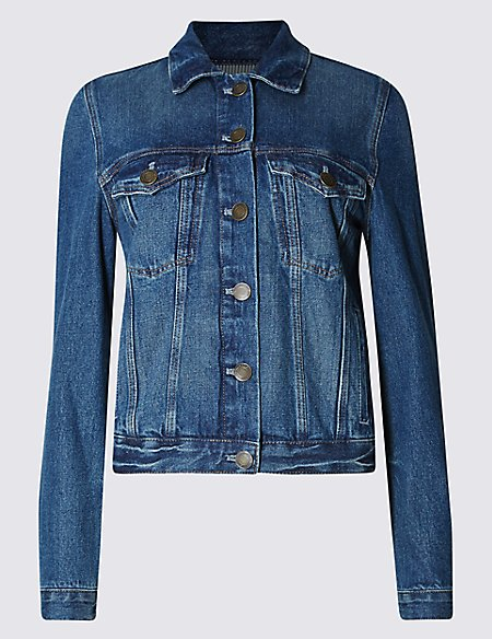PETITE Button Through Denim Jacket