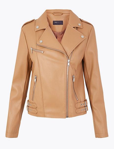 Zipped Detail Biker Jacket