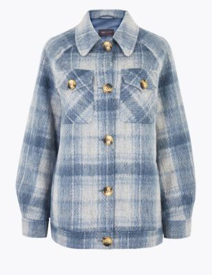 Checked Textured Shacket with Wool