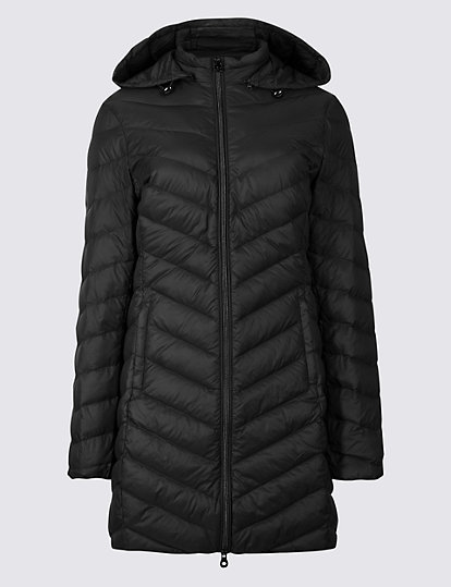 M/&S Warm PADDED /& QUILTED Hooded JACKET with Stormwear  ~ 8 or 10 ~ BLACK CHECK