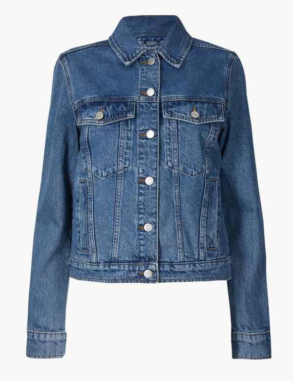 Pure Cotton Button Detailed Denim Jacket. New 0cbd4ef83