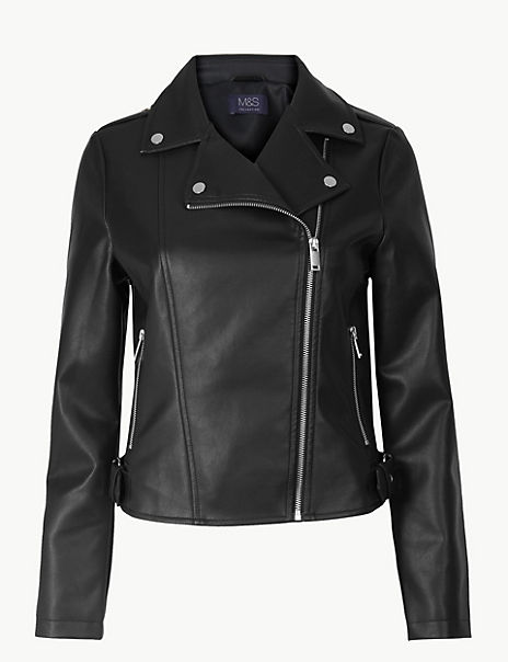 Zipped Detail Biker Jacket
