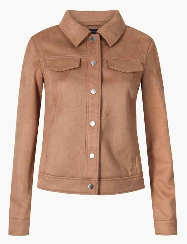 f0036830dc3b2c Faux Suede Trucker Jacket. M S Collection