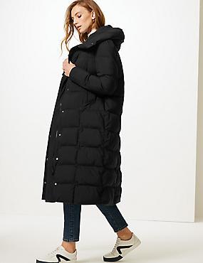Oversized Longline Padded Coat , BLACK, catlanding