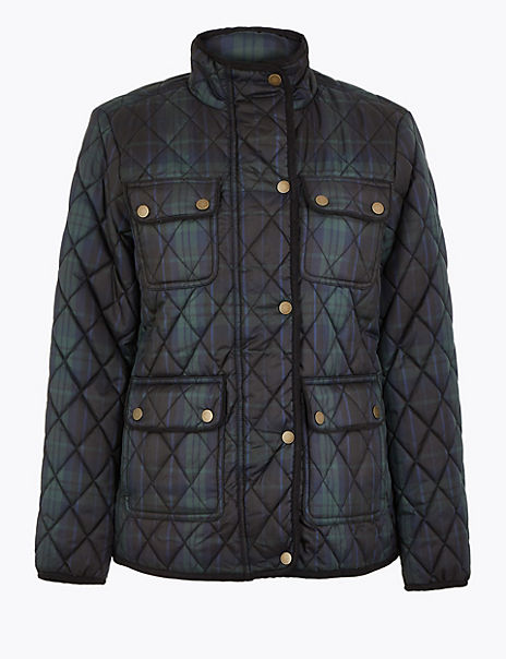 Checked Quilted Utility Jacket