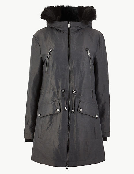 Faux Fur Collar Parka