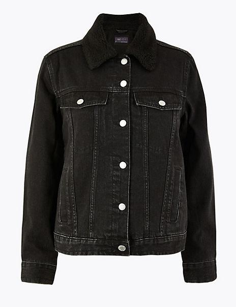 Denim Borg Lined Jacket
