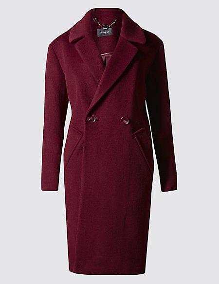 Wool Blend 2 Button Long Length Coat