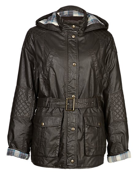 Pure Cotton Waxy Belted Parka