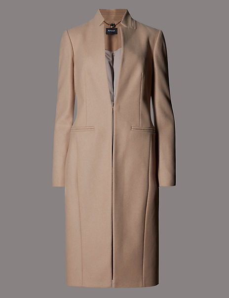 Wool Rich Panelled Coat with Cashmere