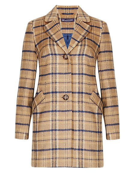 PETITE Single Breasted Checked Coat with Wool