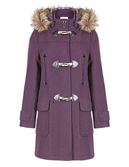 Heavyweight Faux Fur Hooded Duffle Coat with Wool