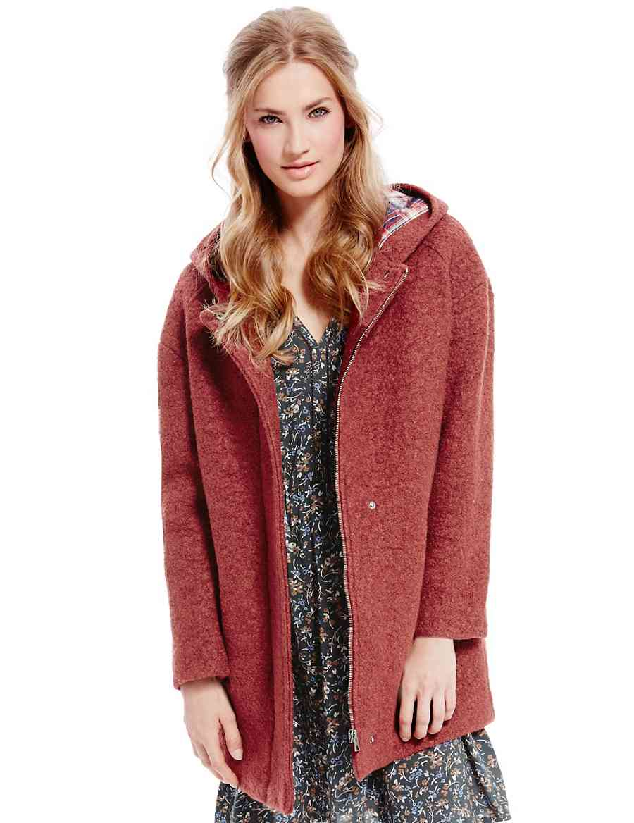 bcefc5b1ef2 Wool Blend Bouclé Duffle Coat