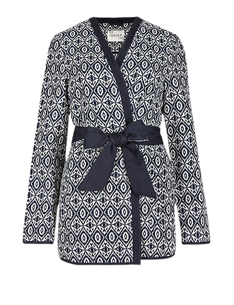 Abstract Print Kimono Jacket with Belt