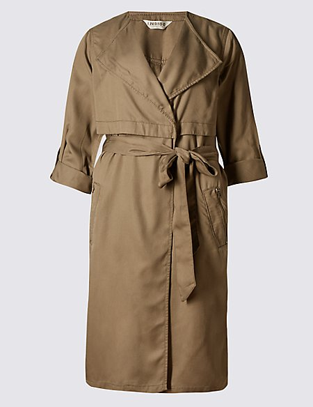 Cuff Detail Trench Coat with Belt