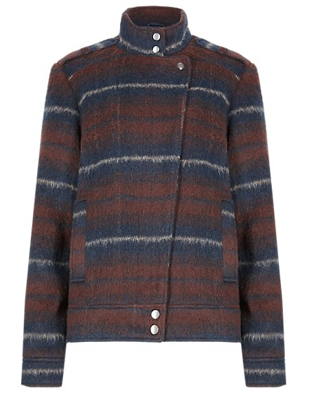 Funnel Neck Striped Plaided Biker Jacket with Wool