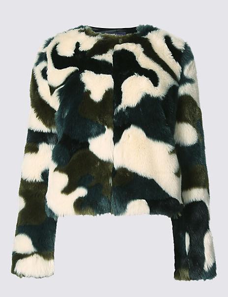 Camouflage Faux Fur Jacket